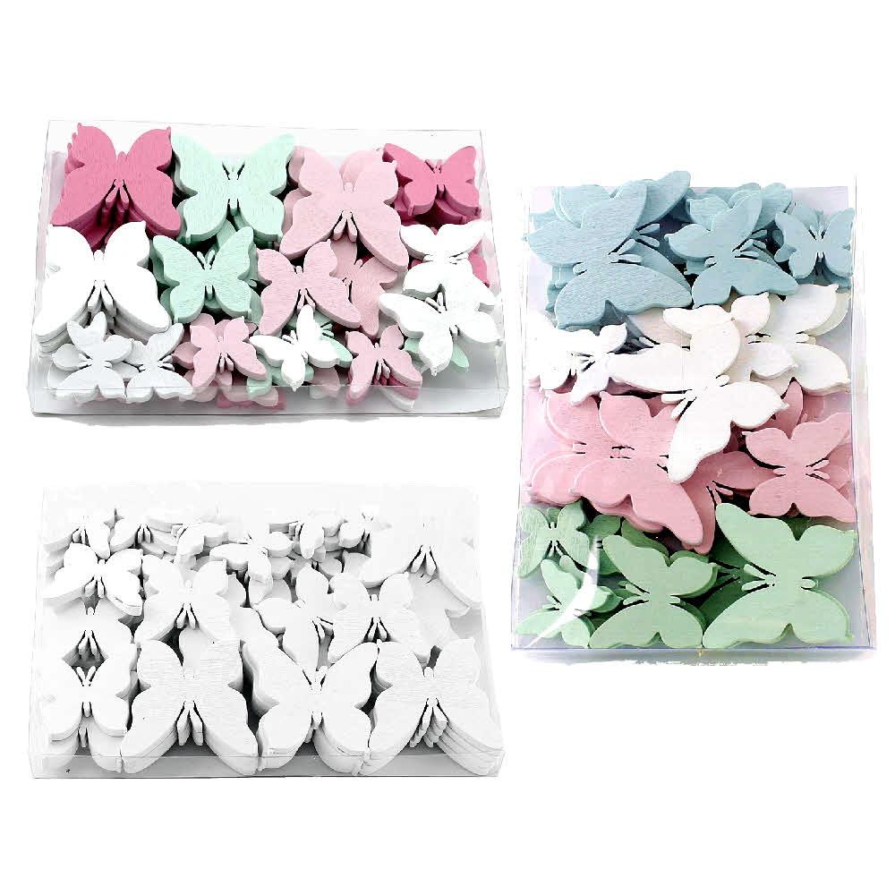 48x Schmetterlinge Holz flach, 5,5-3cm, div. Farben in Klarsichtbox !!