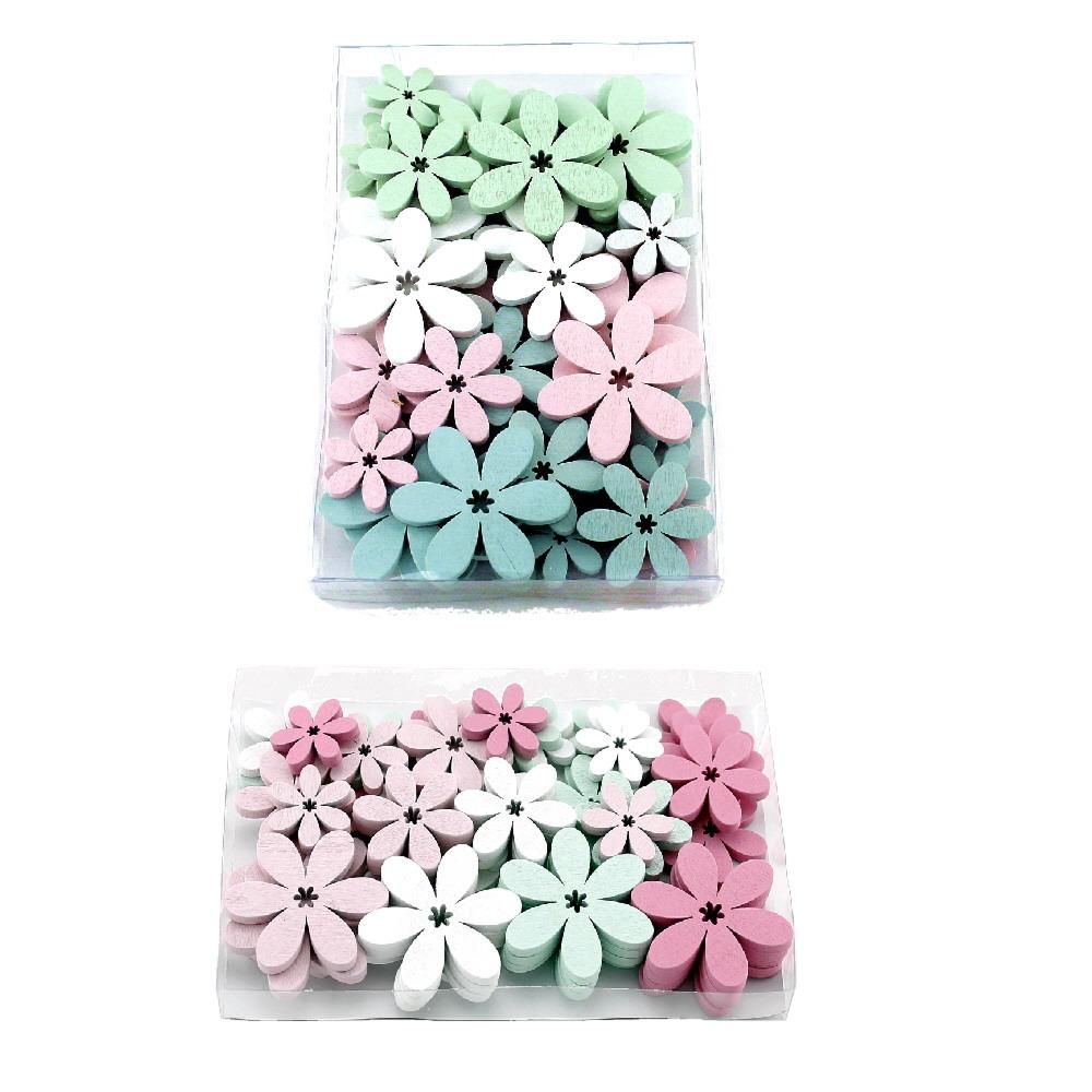 48x Streu-Blumen Holz flach, 5,5/4/3cm, div. Farben in Klarsichtbox !!