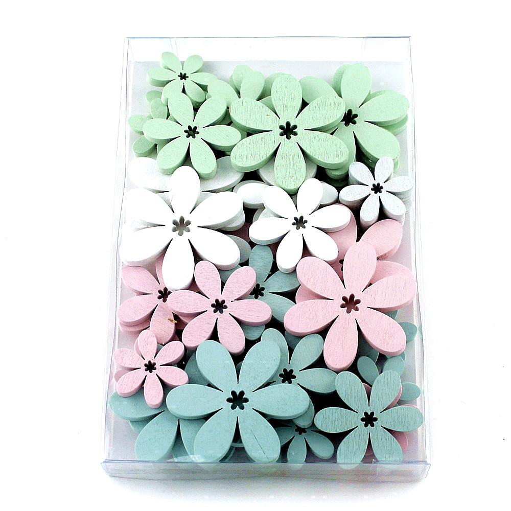 48x Streu-Blumen Holz flach, 5,5/4/3cm, Box // weiß/rosa/mint/h.-blau