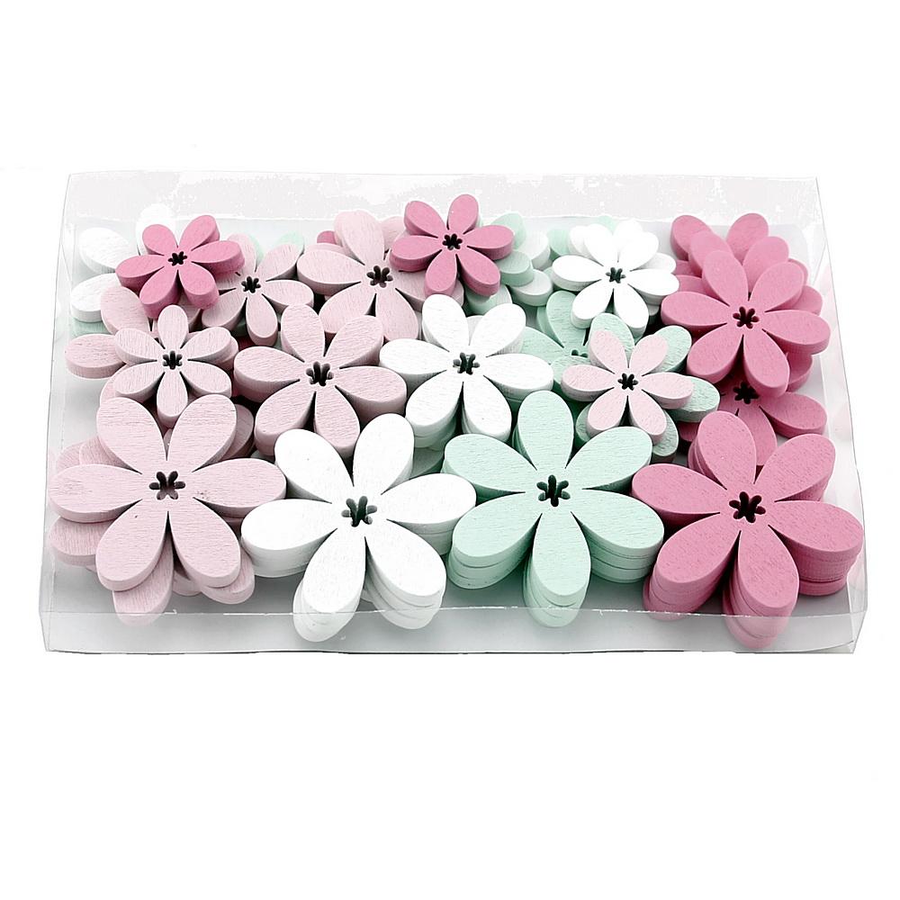 48x Streu-Blumen Holz flach, 5,5/4/3cm, Box /// weiß/rosa/pink/mint