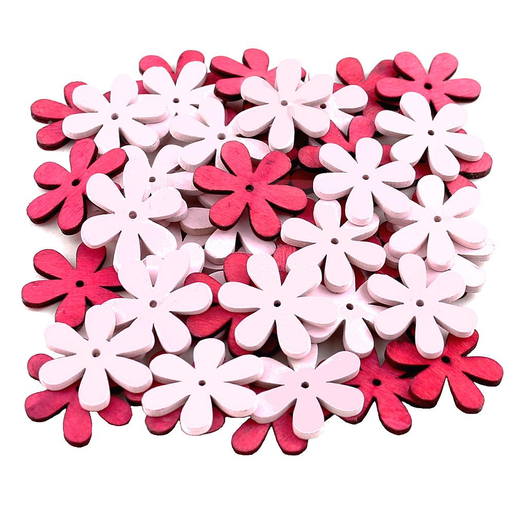 45x Streu-Blumen Holz flach, mit Loch 4cm, Holzblüten !!! 90 rosa/pink