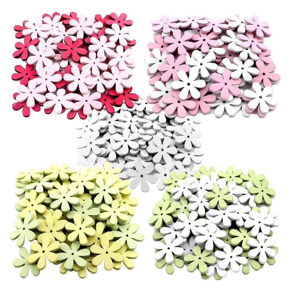 45x Streu-Blumen Holz flach, mit Loch 4cm, Holzblüten, Tischdeko !!!