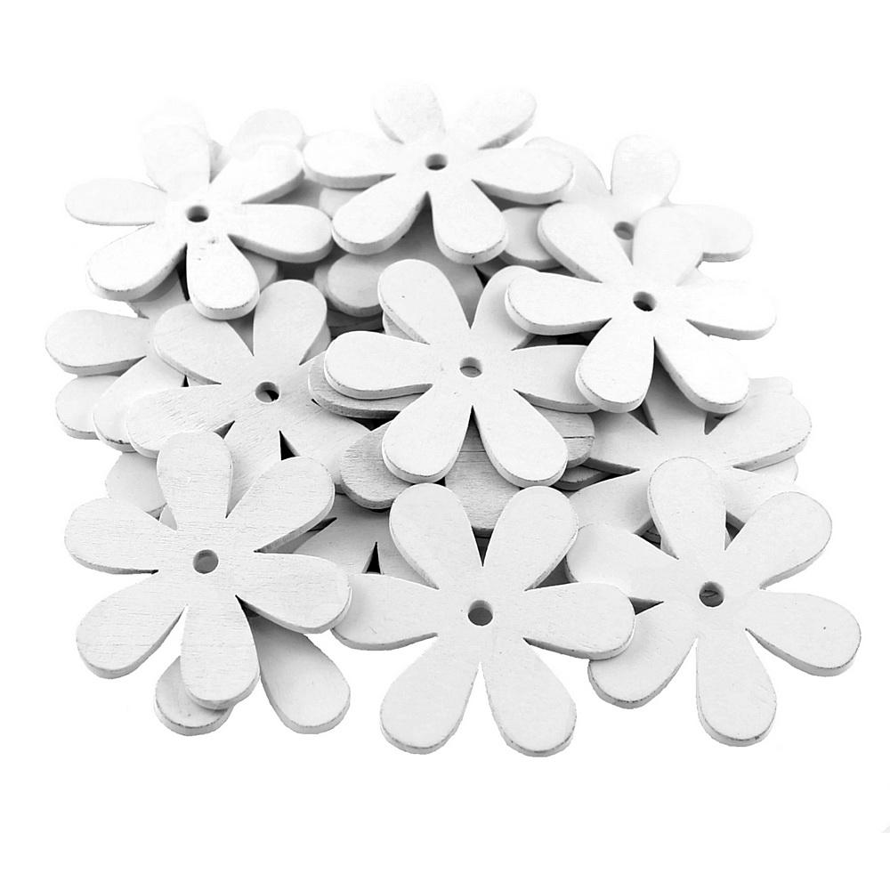 20x Streu-Blumen Holz flach, mit Loch 6cm, Holzblüten !!! 11 weiß