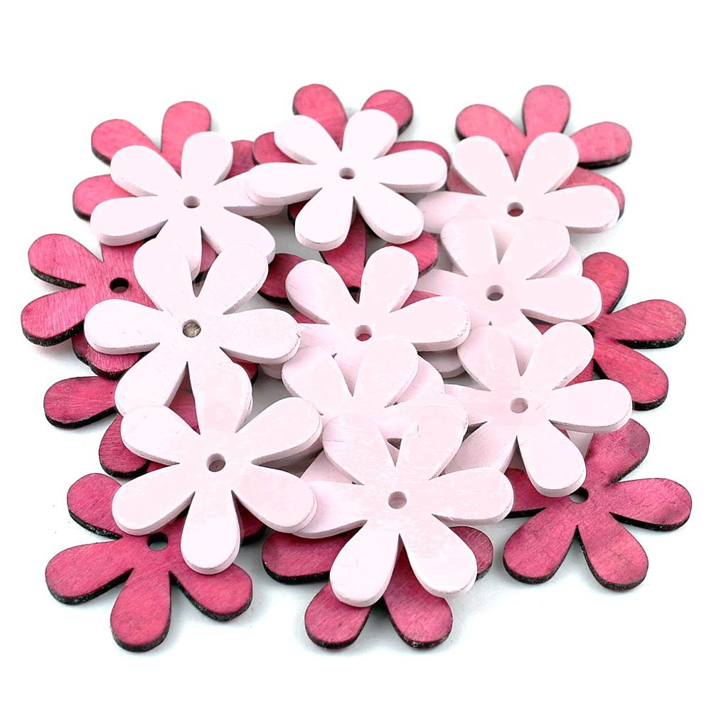 20x Streu-Blumen Holz flach, mit Loch 6cm, Holzblüten !!! 88 rosa/pink