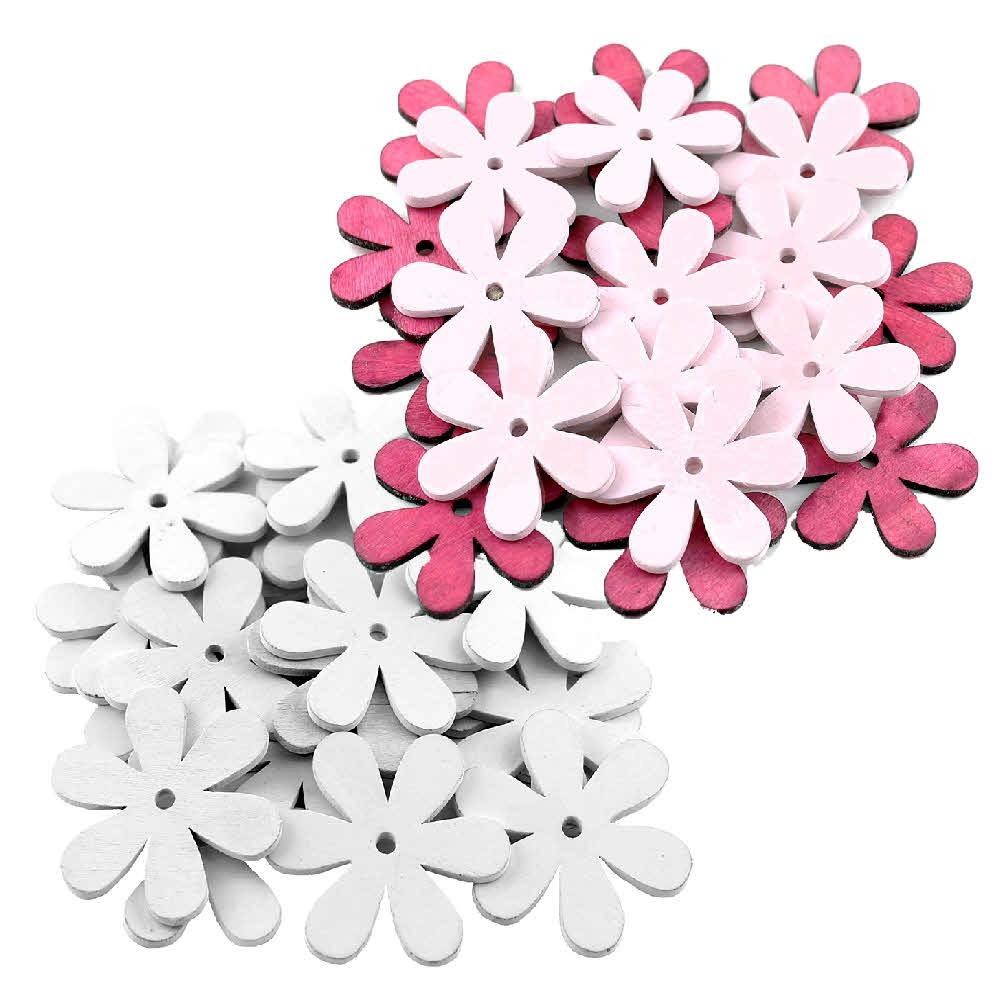 20x Streu-Blumen Holz flach, mit Loch 6cm, Holzblüten !!!