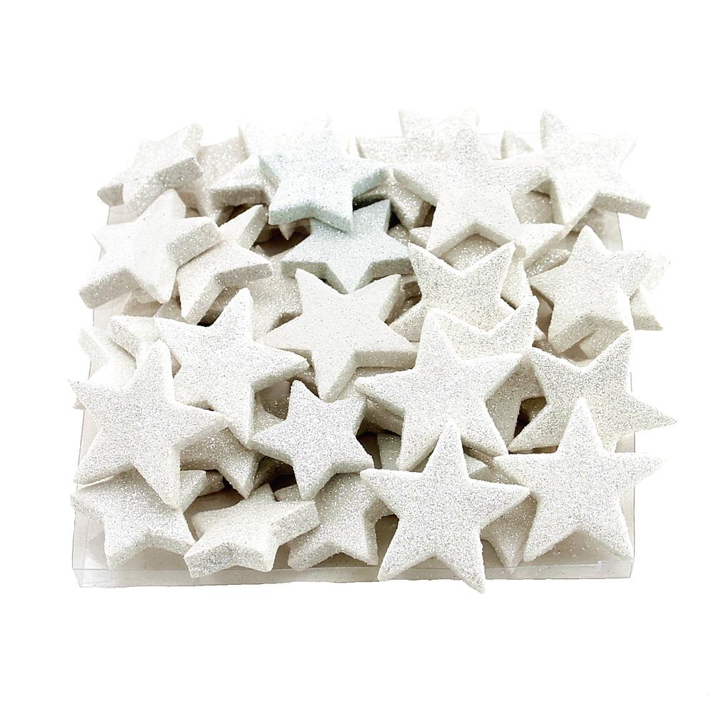 48x Sternstreuer beglittert D5/4cm 2 Größen, Box, Stern / 11 weiß