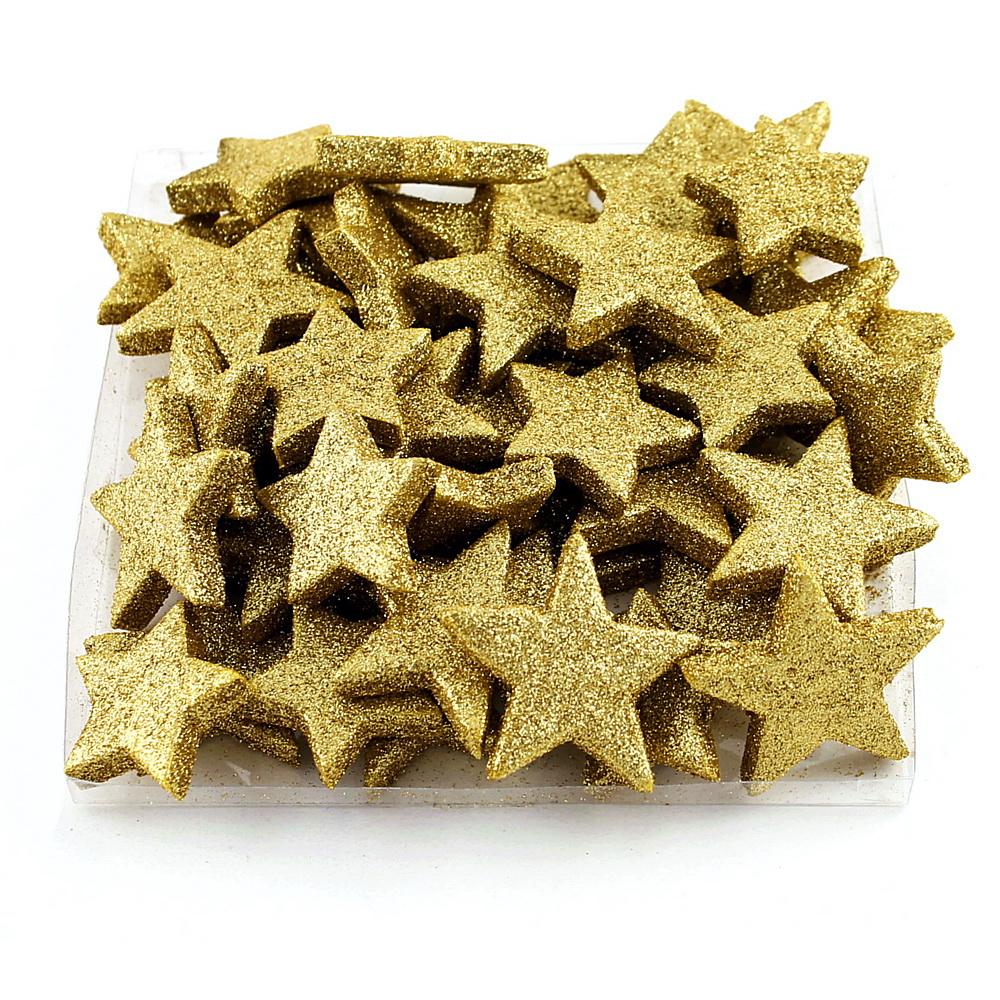 48x Sternstreuer beglittert D5/4cm 2 Größen, Box, Stern / 92 gold