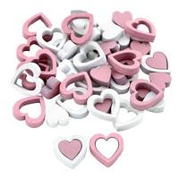 48x Herz rosa/weiß 2 Größen, Streuartikel Holz 2cm und 1,3cm !!!