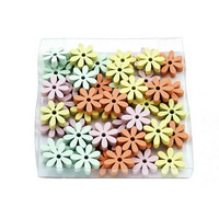 48x Streuartikel Blumen MINI, Holz 1,8cmx0,5cm Box/ orange/gelb/rosa/türkis