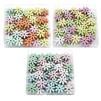 48x Streuartikel Blumen MINI, Holz 1,8cm x 0,5cm Box 4 Farben !!!