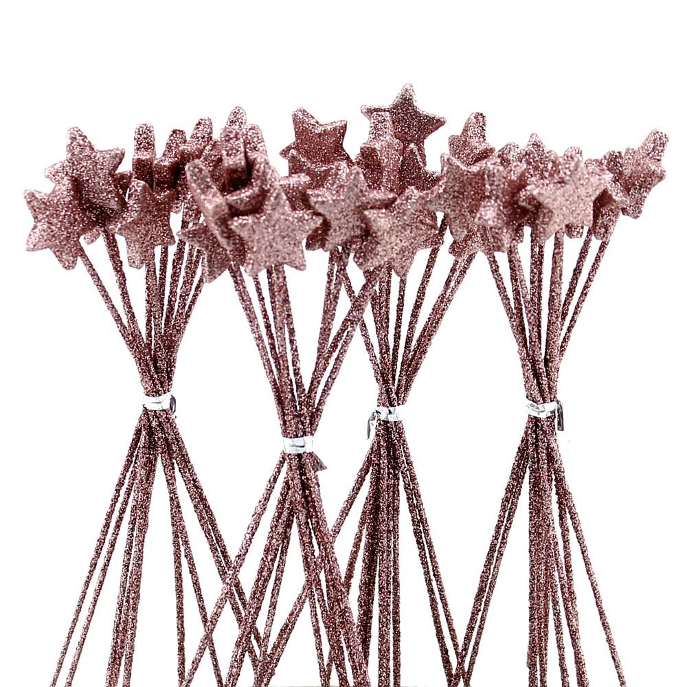 40x Sterne am Pick D2cm beglittert, gebündelt a 10, Stecker !! 22 pink