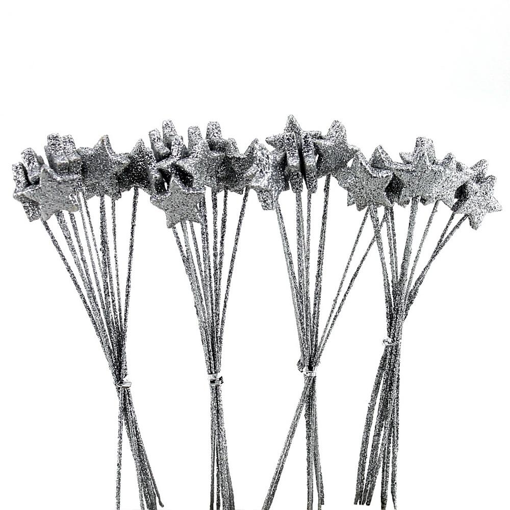 40x Sterne am Pick D2cm beglittert, gebündelt a 10 Stecker/  91 silber