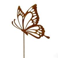 3x Metallstecker Schmetterling seitlich Rostlook, L 29cm !!!