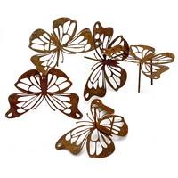 5x Metall- Schmetterlinge, Stecker mit 2 Pin, Rostlook, 10,5 x 8cm !!!