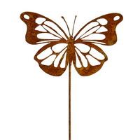 6x Metallstecker Schmetterling flach Rostlook, L 31cm !!!