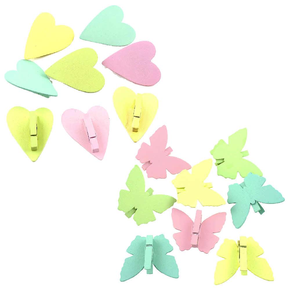 8x Holz Schmetterling / Herz mit Klammer, 6cm - 5cm, bunt pastell