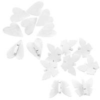 8x Holz Schmetterling / Herz mit Klammer, 6cm - 5cm, weiß