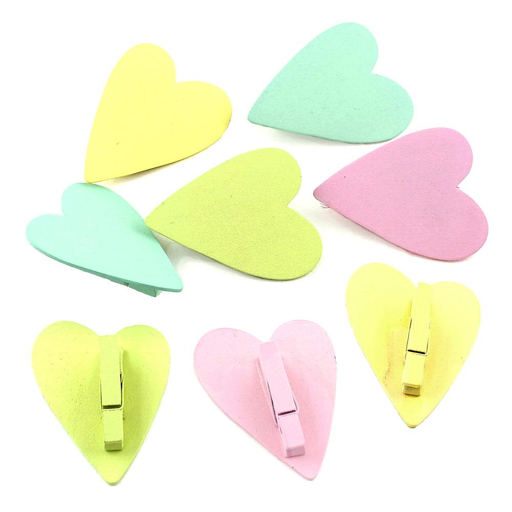 8x Holz Schmetterling / Herz mit Klammer, 6cm - 5cm, bunt pastell Herz