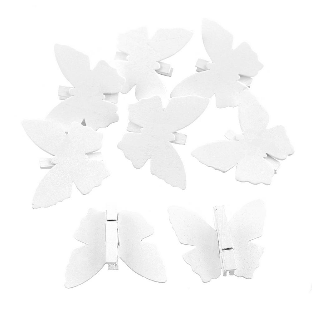 8x Holz Schmetterling mit Klammer, B6,0cm x L5,0cm, weiß Schmetterling