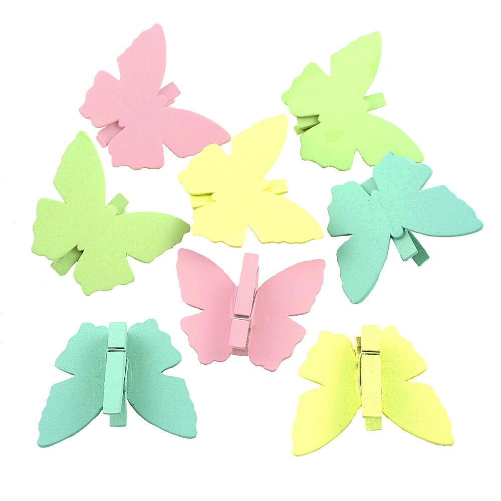8x Holz Schmetterling mit Klammer, 6cmx5cm, bunt pastell Schmetterling