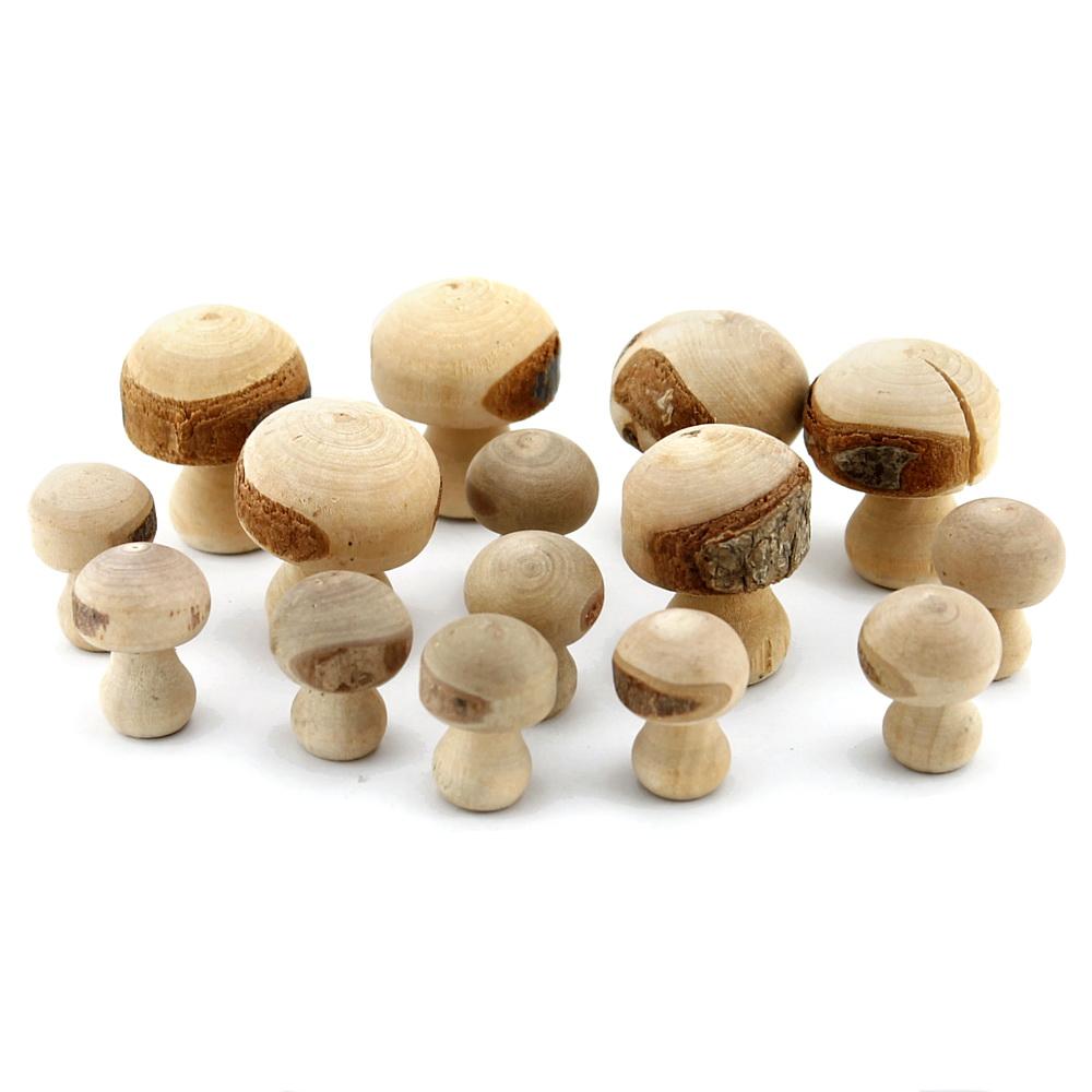 15x Holz- Pilze natur, in 2 Größen, ca. H 3,5cm + 2,7cm, Handarbeit !!