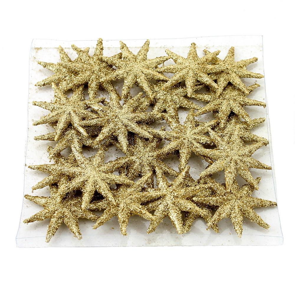 20x Sternstreuer flach, 8eck beglittert, 5cm  Stern, Streuer/ 01 gold