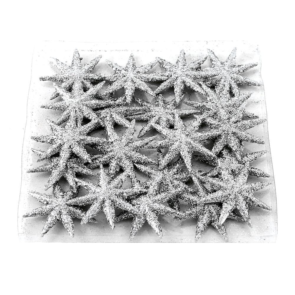 20x Sternstreuer flach, 8eck beglittert 5cm  Stern, Streuer/ 07 silber