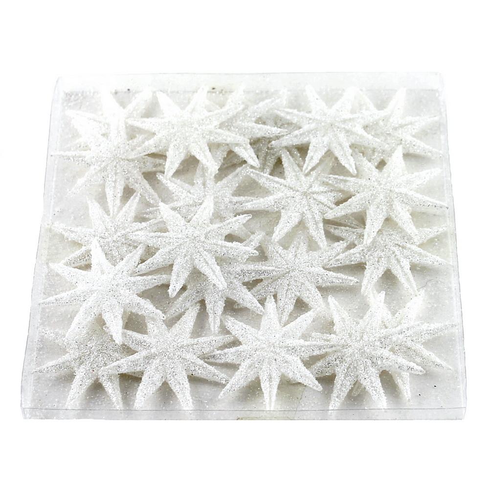 20x Sternstreuer flach, 8eck beglittert, 5cm  Stern, Streuer / 10 weiß