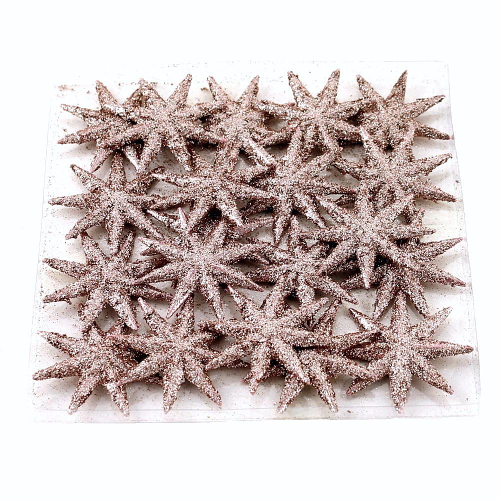 20x Sternstreuer flach, 8eck beglittert, 5cm  Stern / 95 rosegold
