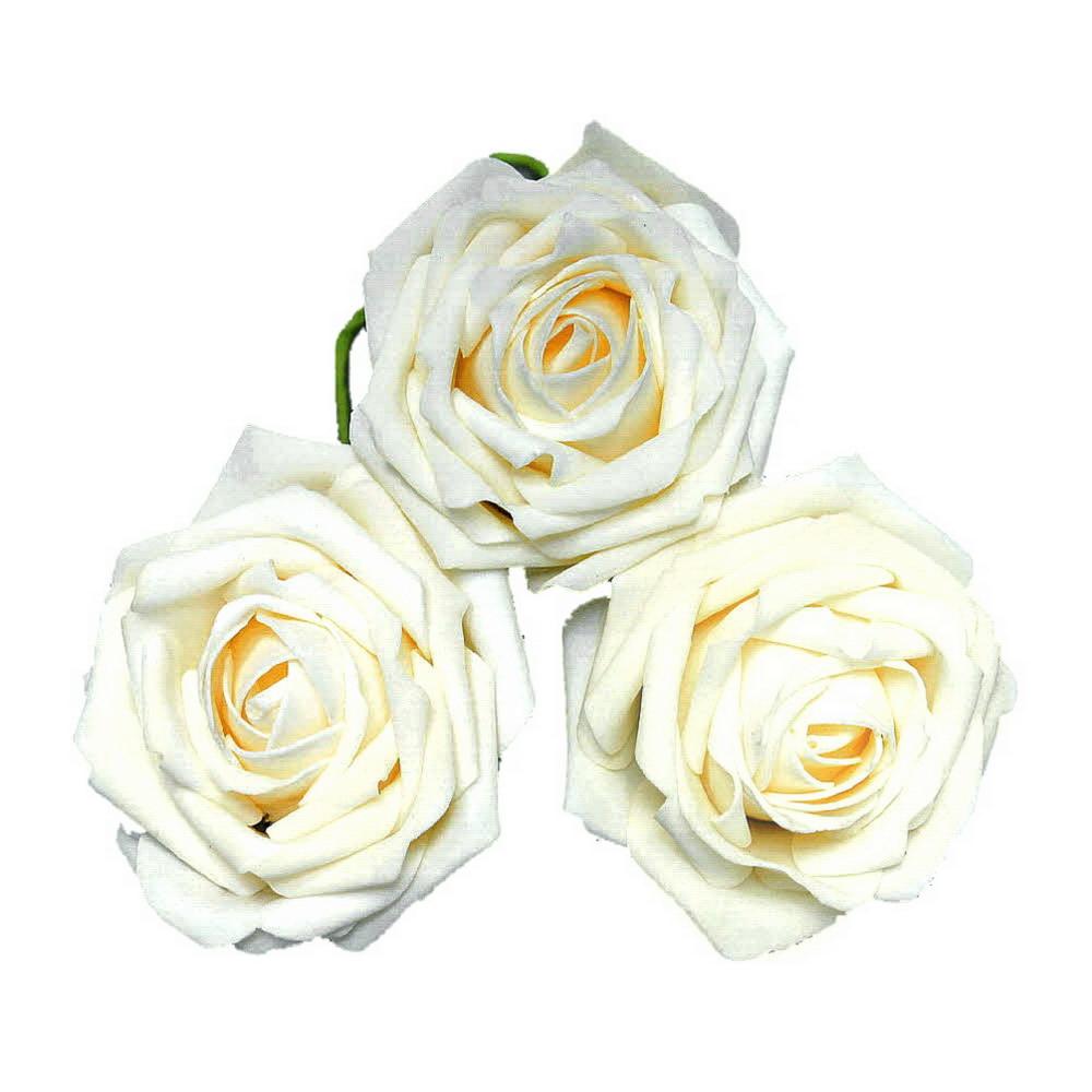Foam- Rosen, Ø 10cm Super Groß, Schaum- Rose, 3 Stück // 01 creme