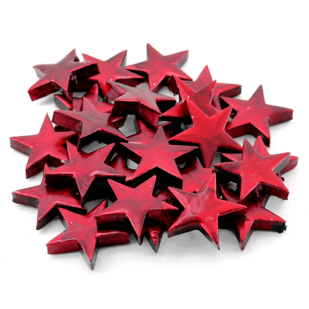 48x Sternstreuer glänzend D4cm im Beutel, Sterne !!! 26 d.-rot