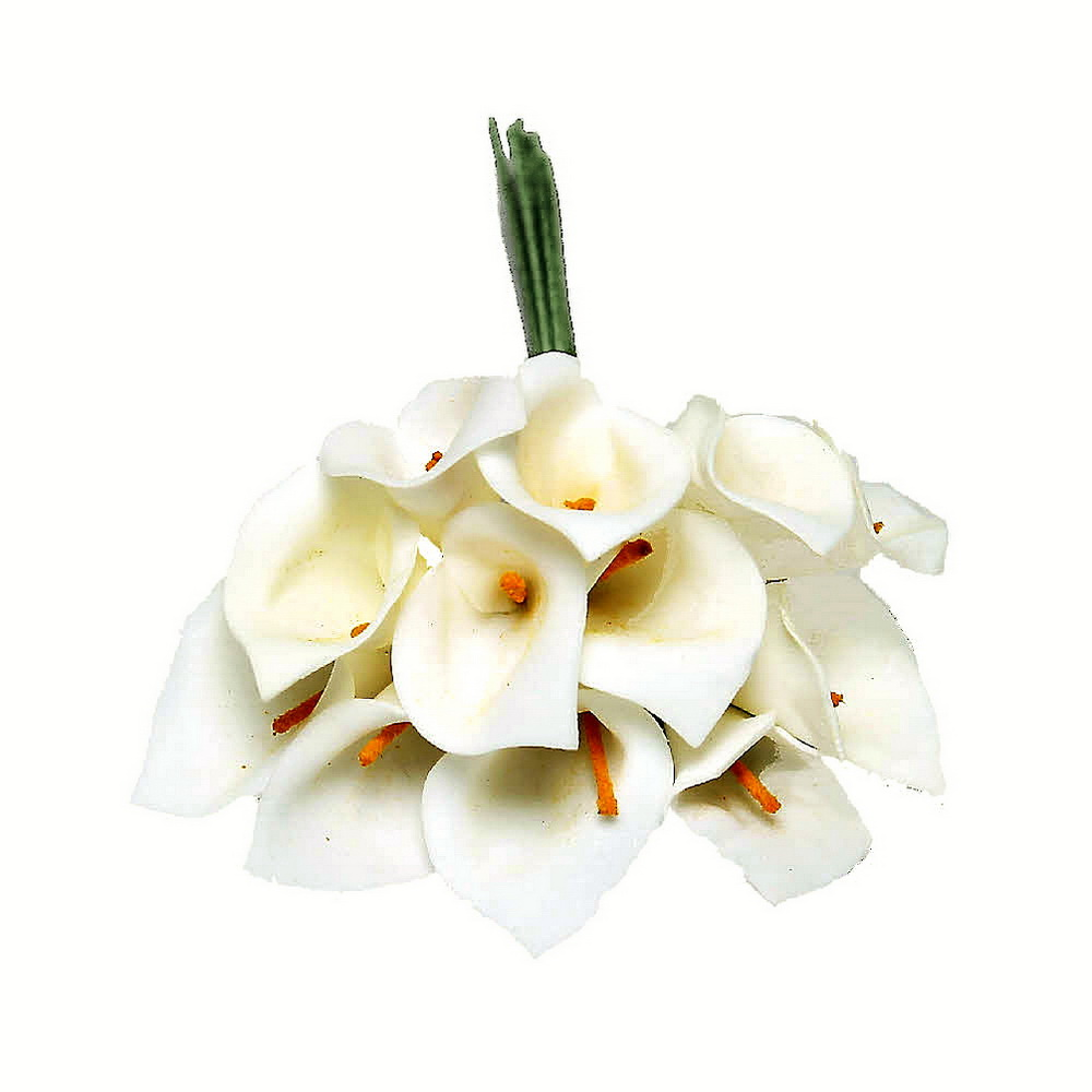 3 Bund/ mini Callas/ 18cm, Farbe: vanille