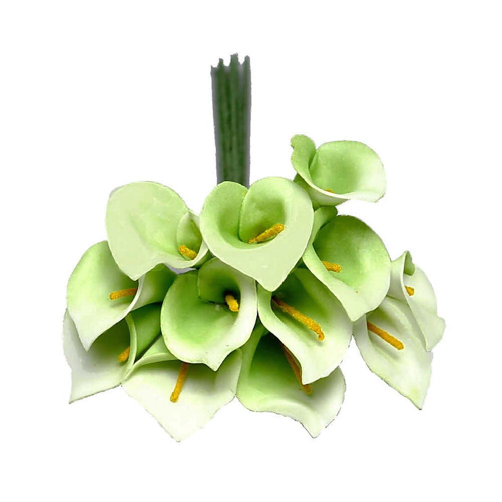 3 Bund/ mini Callas/ 18cm, Farbe: grün/creme