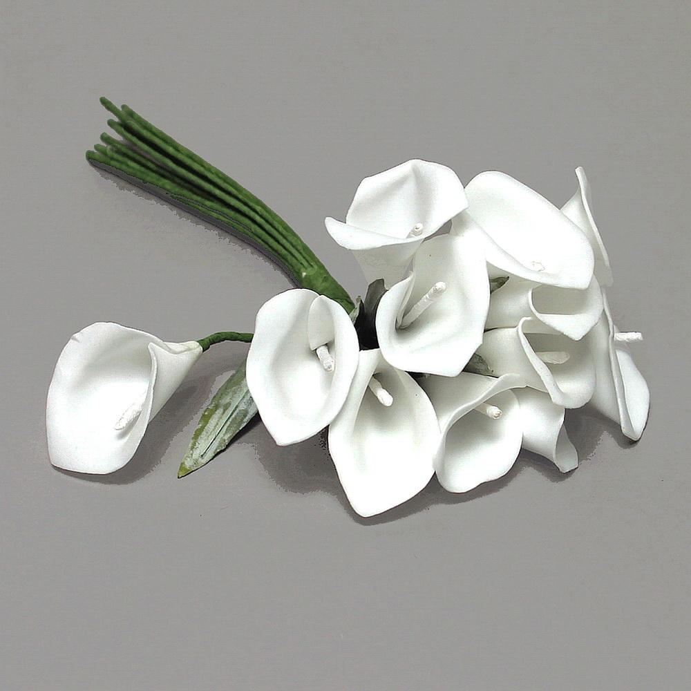 Mini Callas 12 Blüten/ 25cm, Foam- Schaum- Calla, Hochzeit / 01 weiß