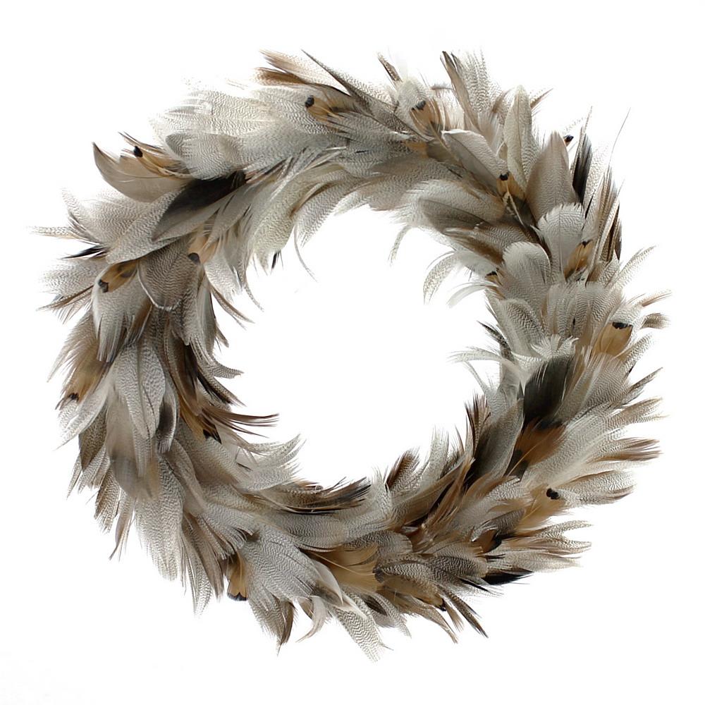Federkranz, Entenfedern natur, Außen Ø ca. 30cm, beidseitig auf Styroporkranz !!