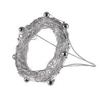 6x Draht-Kranz-Manschette silber, 8cm mit kleinen Perlen in silber !!!