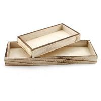 Holz-Tablett rechteckig, braun geflammt, diverse Größen !!!