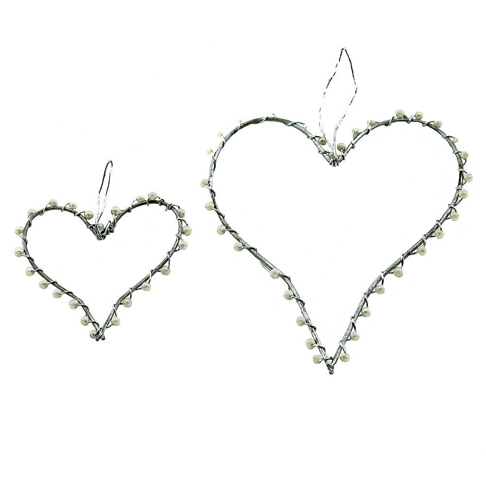 Drahtherzen offen 5cm/ 8cm mit kleinen Perlen, flach, Edel, Hochzeit !