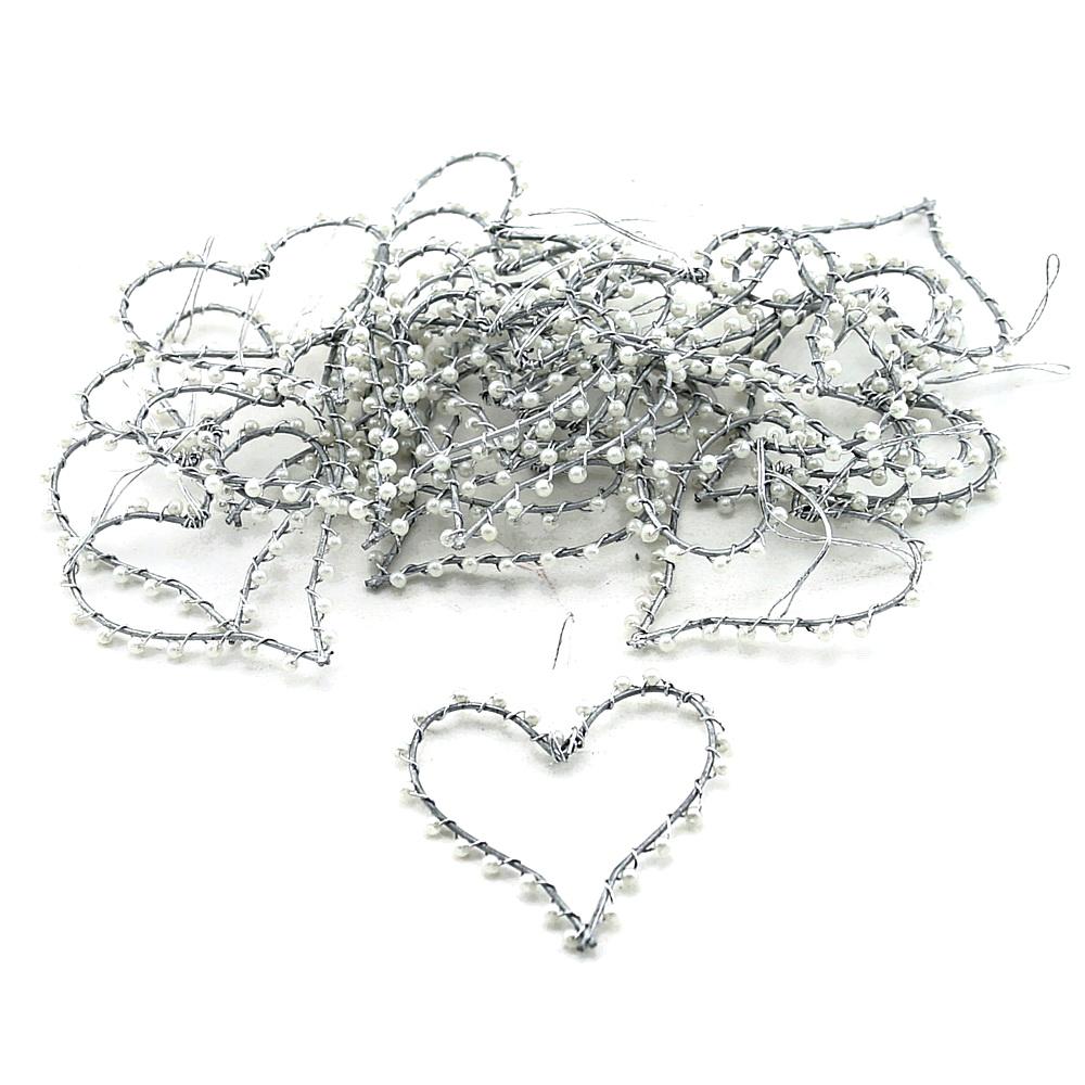 Drahtherzen offen 5cm/ 8cm mit kleinen Perlen, flach // Box 25 St. 5cm