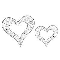 3x Drahtherzen offen mit Perlen, flach 15cm oder 20cm, Hochzeit !!!
