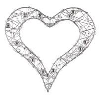 3x Drahtherzen offen mit Perlen, flach, Edel, Hochzeit !!! 3 St. 20cm