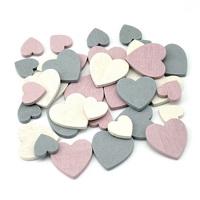 72x Streu-Herzen klein, rosa/grau/creme sortiert, Holz 1,5+2,5cm***