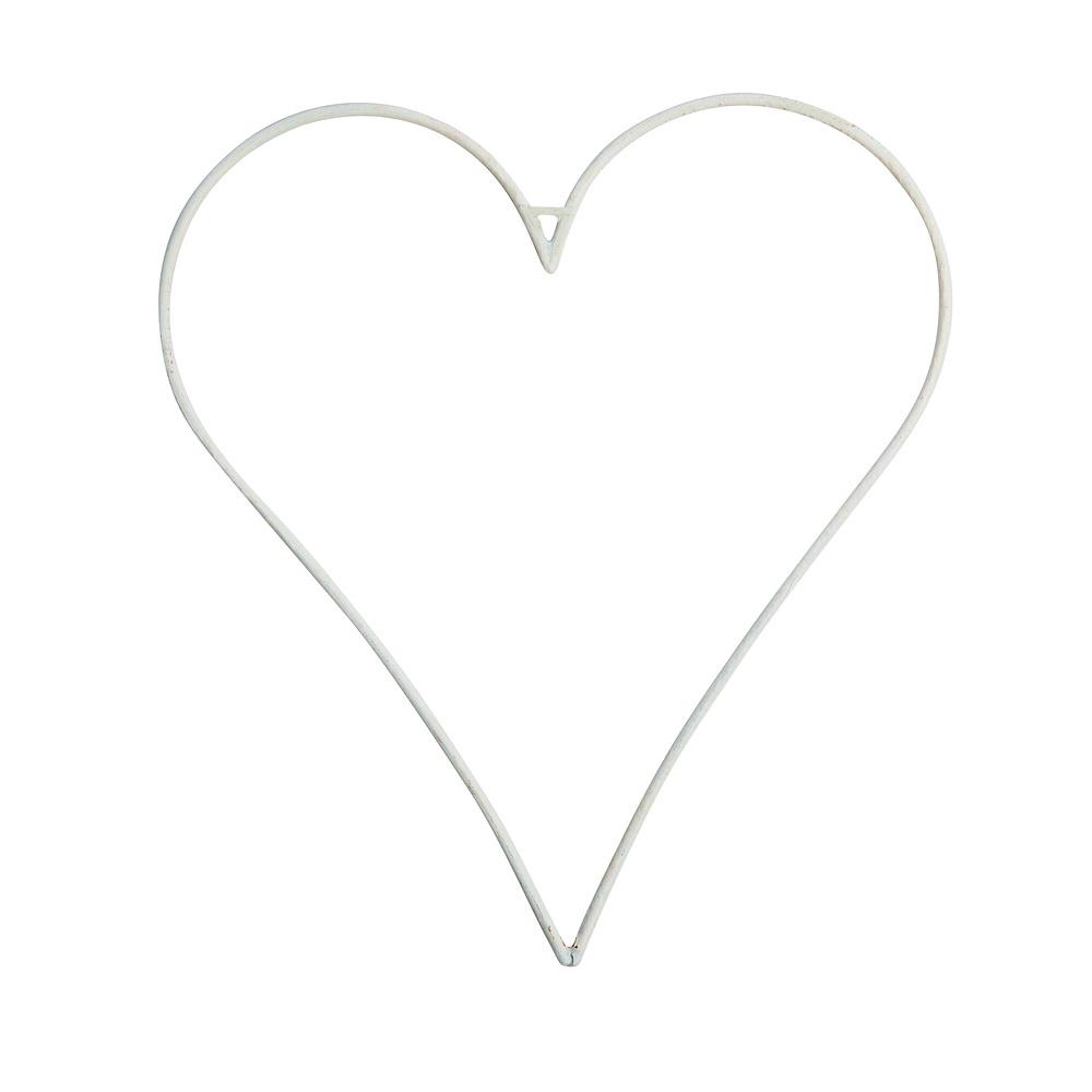 2 Stück Metall-Herz dünn, weiß 18x20cm oder 27,5x30cm !!!