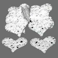 16 x Papierband Herz flach, 7cm weiß, Drahtherz / Nice Price !!!
