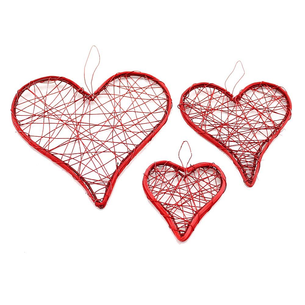 Drahtherzen rot, flach mit Rattan, 6-9-12cm, Hochzeit !!!