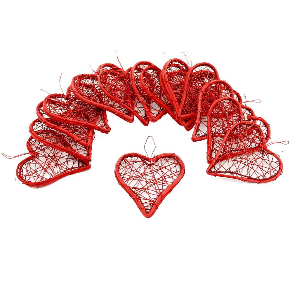 Drahtherzen rot, flach mit Rattan, 6-9-12cm, Hochzeit !!! 16 St. 6cm