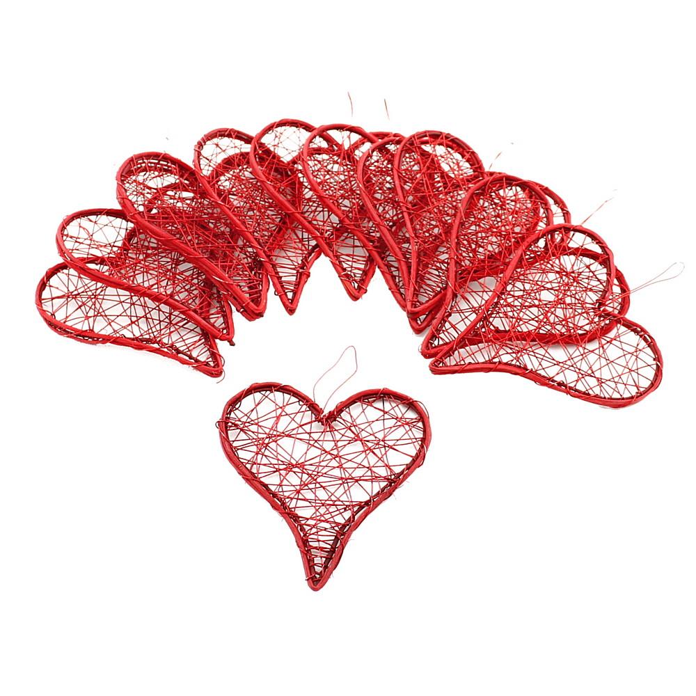 Drahtherzen rot, flach mit Rattan, 6-9-12cm, Hochzeit !!! 12 St. 9cm