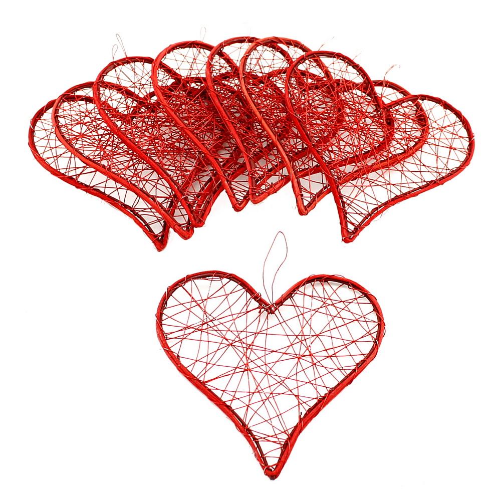 Drahtherzen rot, flach mit Rattan, 6-9-12cm, Hochzeit !!! 8 St. 12cm