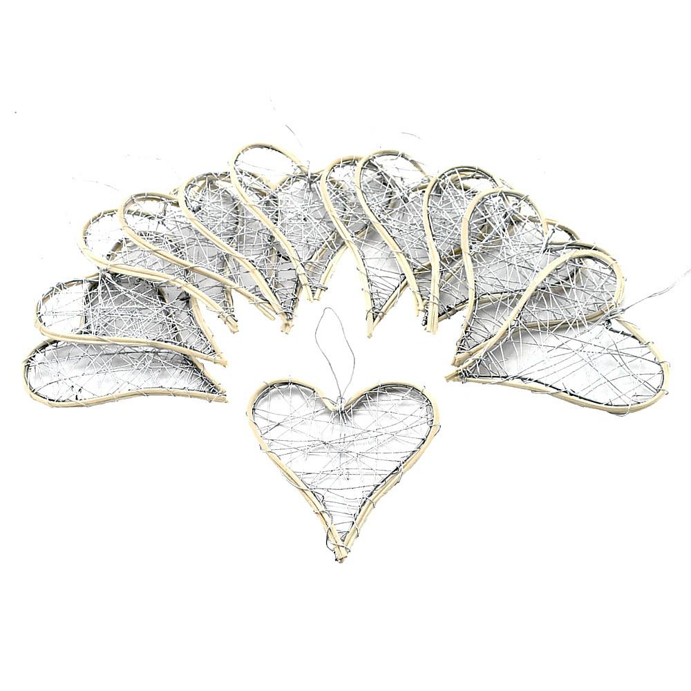 Drahtherzen silber, flach mit Rattan, 6-9-12cm, Hochzeit !! 12 St. 9cm