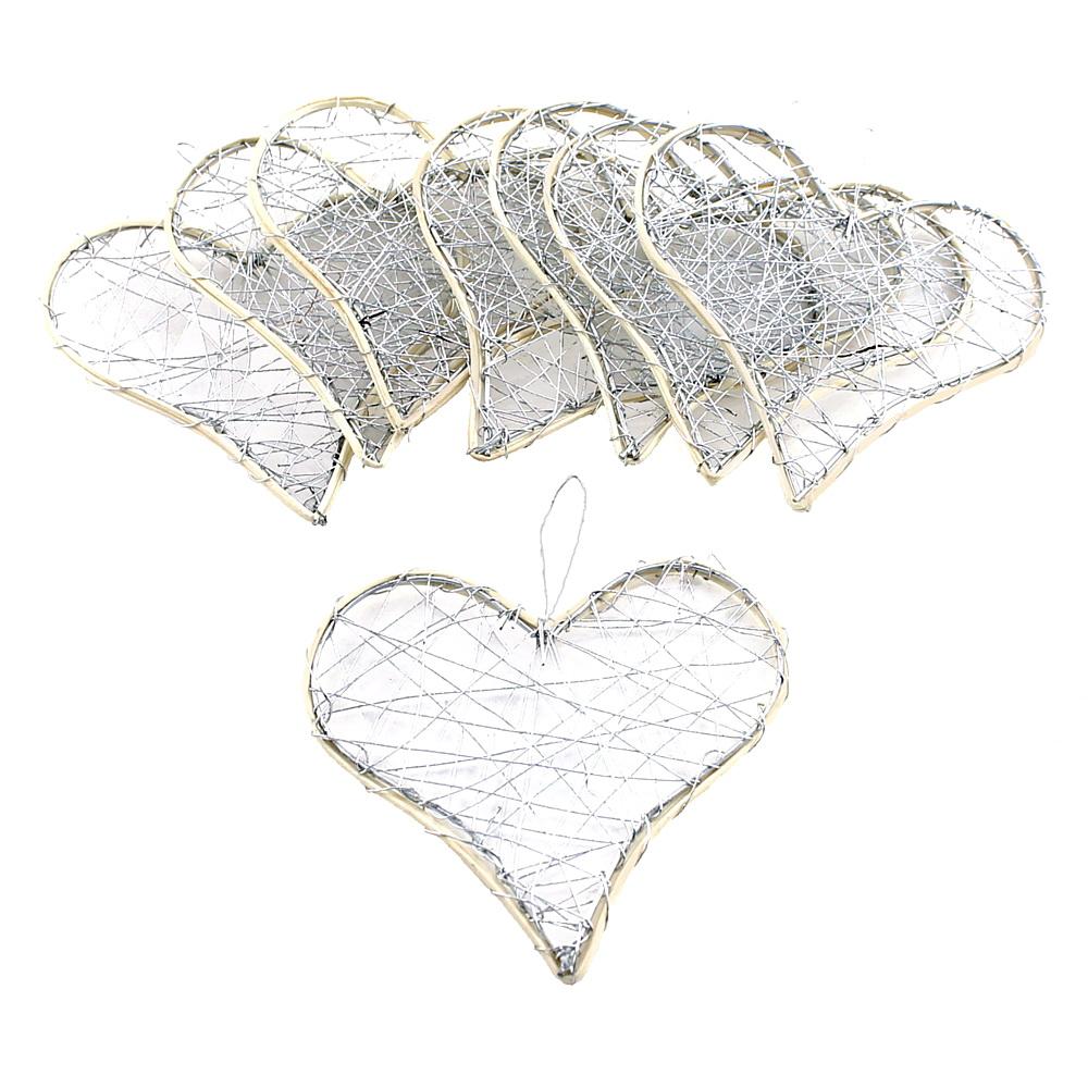 Drahtherzen silber, flach mit Rattan, 6-9-12cm, Hochzeit !! 8 St. 12cm